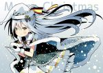 1girl alternate_costume blush english flower_knight_girl hair_ornament hat long_hair merry_christmas omotekikou santa_hat shirotaegiku_(flower_knight_girl) silver_hair simple_background solo winter_clothes yellow_eyes