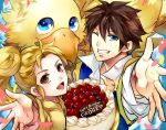 1boy 1girl blonde_hair blue_eyes boco_(ff5) brown_hair butz_klauser chocobo closed_mouth eyebrows_visible_through_hair final_fantasy final_fantasy_v happy_birthday krile_mayer_baldesion long_hair open_mouth ponytail short_hair smile tama_(tmfy5)