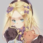 1girl abigail_williams_(fate/grand_order) artist_name bangs black_dress black_hat blonde_hair bloomers blue_eyes blush bow closed_mouth commentary_request dress fate/grand_order fate_(series) hair_bow hands_in_sleeves hat head_tilt highres long_sleeves looking_at_viewer object_hug orange_bow parted_bangs polka_dot polka_dot_bow purple_bow solo stuffed_animal stuffed_toy teddy_bear underwear zahravoca_(annpratamav)