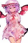 1girl absurdres ascot bat_wings closed_mouth cowboy_shot fang_out hair_between_eyes hat hat_ribbon highres kaamin_(mariarose753) lavender_hair looking_at_viewer mob_cap red_eyes red_neckwear red_ribbon remilia_scarlet ribbon short_sleeves simple_background smile solo touhou white_background wing_collar wings