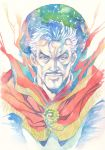 1boy agahari brown_eyes calligraphy_brush_(medium) cape closed_mouth colored_pencil_(medium) doctor_strange eye_of_agamotto facial_hair highres looking_at_viewer male_focus marvel mustache portrait red_cape solo traditional_media upper_body white_hair