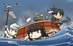 3girls aircraft bangs black_hair blunt_bangs bruise_on_face cannon commentary cup dated flag food fruit hachimaki hamu_koutarou hatsuyuki_(kantai_collection) headband highres hime_cut kantai_collection kotatsu long_hair mandarin_orange mogami_(kantai_collection) multiple_girls ocean school_uniform serafuku short_hair smoke standing standing_on_liquid table teacup teapot unryuu_(kantai_collection) white_hair