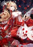 1girl :d aestus_estus ahoge amatsukiryoyu armor blonde_hair blush breasts cleavage cleavage_cutout dress dutch_angle epaulettes fate/extra fate_(series) fence flower from_below full_moon gauntlets green_eyes hair_bun hair_ribbon head_wreath heart heart_print highres holding holding_sword holding_weapon medium_breasts moon nero_claudius_(fate) nero_claudius_(fate)_(all) night night_sky open_mouth petals red_dress red_ribbon red_rose ribbon rose rose_petals saber_extra short_hair shoulder_armor sidelocks skirt_hold sky smile solo standing sword v-shaped_eyebrows weapon wind