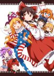6+girls american_flag_dress american_flag_legwear animal_ears arm_up back-to-back black_hair blonde_hair blue_eyes blue_shirt boots bow braid brown_eyes brown_hair cat_ears closed_eyes clownpiece crossed_arms curly_hair detached_sleeves dress fairy_wings fang hair_bow hairband hakurei_reimu hand_on_hip hand_to_own_mouth harusame_(unmei_no_ikasumi) hat jester_cap kaenbyou_rin komeiji_satori long_hair luna_child multiple_girls neck_ruff one_eye_closed open_mouth pantyhose pink_skirt purple_hair red_eyes red_footwear red_shirt red_skirt redhead ribbon shirt short_hair skirt smile star_sapphire sunny_milk third_eye touhou twin_braids twintails violet_eyes waving white_dress wings
