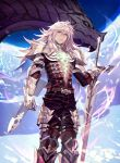 1boy armor closed_mouth clouds commentary_request dark_skin dark_skinned_male dragon eis expressionless fate/apocrypha fate_(series) from_below gauntlets glowing glowing_tattoos greaves green_eyes highres long_hair male_focus pauldrons saber_of_black shoulder_pads sky tattoo white_hair