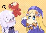 +_+ 2girls ? abigail_williams_(fate/grand_order) bangs blonde_hair blue_eyes blush bow chibi constricted_pupils dos_(james30226) dress fate/grand_order fate_(series) hair_bow hands_in_sleeves hat horn impaled jpeg_artifacts lavinia_whateley_(fate/grand_order) long_hair multiple_girls no_mouth no_nose nose_blush orange_background orange_bow polka_dot polka_dot_background polka_dot_bow silver_hair sparkle stuffed_animal stuffed_toy tears teddy_bear very_long_hair violet_eyes