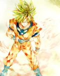1boy ake_(ake54) blonde_hair blue_eyes boots dougi dragon_ball dragonball_z hand_on_belt highres looking_away male_focus serious short_hair simple_background son_gokuu spiky_hair super_saiyan traditional_media watercolor_(medium) white_background wristband