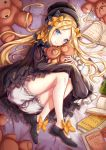 1girl abigail_williams_(fate/grand_order) bangs black_bow black_dress black_footwear black_hat blonde_hair bloomers blue_eyes blush book bow butterfly closed_mouth commentary_request dress eyebrows_visible_through_hair fate/grand_order fate_(series) fingernails hair_bow hat long_hair long_sleeves looking_at_viewer lying object_hug on_side open_book orange_bow parted_bangs polka_dot polka_dot_bow shoes smile solo stuffed_animal stuffed_toy teddy_bear underwear very_long_hair white_bloomers zhi_yu_(siro800102)