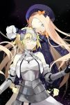 2girls :o abigail_williams_(fate/grand_order) armor armored_dress bangs bare_shoulders black_background black_bow black_dress black_hat blonde_hair blood blue_eyes bow closed_eyes closed_mouth commentary_request cuts dress eyes_visible_through_hair fate/grand_order fate_(series) gauntlets gorget hair_over_eyes halter_dress hands_in_sleeves hat head_tilt headpiece highres injury jeanne_d'arc_(fate) jeanne_d'arc_(fate)_(all) long_hair long_sleeves multiple_girls orange_bow parai0 parted_bangs parted_lips polka_dot polka_dot_bow short_hair sleeveless sleeveless_dress very_long_hair white_dress