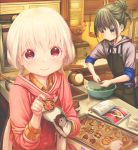 2girls abo_(kawatasyunnnosukesabu) absurdly_long_hair apron baking baking_sheet bangs black_apron black_hair book bookmark bowl commentary_request cookie food green_nails grey_sweater hair_bun highres hood hooded_sweater kitchen kitchen_scale ladle long_hair low_twintails multiple_girls nail_polish nervous_smile open_book original oven oven_mitts pocket pot recipe_(object) red_eyes red_sweater shirt sleeves_folded_up smile sweatdrop sweater twintails very_long_hair violet_eyes weighing_scale whisking white_hair