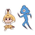 1girl animal_ears batta_(ijigen_debris) blush_stickers bow bowtie brown_eyes cerulean_(kemono_friends) chasing commentary crying crying_with_eyes_open d: eyebrows_visible_through_hair hands_up high-waist_skirt kemono_friends looking_at_viewer motion_blur one-eyed open_mouth orange_hair orange_legwear orange_neckwear orange_skirt running scared serval_(kemono_friends) serval_ears serval_print serval_tail short_hair simple_background skirt standing standing_on_one_leg tail tears thigh-highs white_background