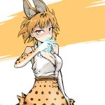1girl animal_ears arm_at_side blonde_hair breasts claws dulldull elbow_gloves eyebrows_visible_through_hair gloves glowing glowing_hand high-waist_skirt highres kemono_friends large_breasts looking_at_viewer partially_unbuttoned red_eyes serval_(kemono_friends) serval_ears serval_print shirt skirt sleeveless sleeveless_shirt solo white_shirt