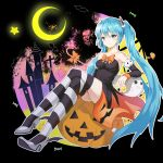 1girl :3 absurdres arm_rest bare_shoulders black_dress blue_eyes blue_hair bow candy castle collarbone crescent_moon detached_sleeves dress eyebrows_visible_through_hair food full_body ghost grey_footwear hair_between_eyes hair_ornament halloween hatsune_miku high_heels highres jack-o'-lantern legs_crossed long_hair looking_at_viewer moon mushroom orange_bow pumpkin sitting smile solo star strapless strapless_dress striped striped_legwear tears thigh-highs very_long_hair vocaloid w-t zettai_ryouiki