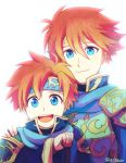 2boys armor blue_eyes cape cosplay durandal_(fire_emblem) eliwood_(fire_emblem) eliwood_(fire_emblem)_(cosplay) father_and_son fire_emblem fire_emblem:_fuuin_no_tsurugi fire_emblem:_rekka_no_ken fire_emblem_heroes headband looking_at_viewer male_focus multiple_boys redhead roy_(fire_emblem) short_hair simple_background smile sword weapon white_background