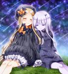 2girls abigail_williams_(fate/grand_order) bags_under_eyes bangs black_bow black_dress black_hat blonde_hair bloomers blush bow butterfly closed_eyes closed_mouth commentary_request dress eyebrows_visible_through_hair falling_star fate/grand_order fate_(series) grass hair_bow hands_in_sleeves hat horn lavinia_whateley_(fate/grand_order) long_hair long_sleeves multiple_girls night night_sky on_grass orange_bow outdoors pale_skin parted_bangs polka_dot polka_dot_bow sakura_tsubame sitting sky smile star_(sky) starry_sky underwear very_long_hair white_bloomers white_hair