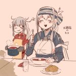 2girls ainu_clothes apron belt black_gloves blue_hair blush borscht_(food) brown_gloves brushing_teeth closed_eyes cup dish draniki dress food fork gangut_(kantai_collection) glass gloves grey_hair hair_between_eyes hair_ornament hairclip headband itomugi-kun kamoi_(kantai_collection) kantai_collection long_hair looking_at_another multicolored_hair multiple_girls no_hat no_headwear open_mouth ponytail pot red_shirt remodel_(kantai_collection) scar scar_on_cheek shirt silver_hair simple_background smile spoon table white_hair