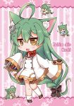 1girl :3 :d akashi_(azur_lane) animal_ears azur_lane bell bell_choker bow braid brown_eyes cat_ears character_name chibi choker commentary_request cube drooling green_hair hair_bow hair_ornament hair_ribbon hairpin highres letter long_hair looking_at_viewer low-tied_long_hair mole mole_under_eye mouth_hold noai_nioshi open_mouth ribbon ribbon_choker screwdriver single_braid sleeves_past_wrists smile solo stargazy_pie wrench