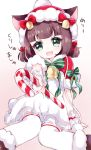 1girl :d animal_ears arm_support azur_lane bangs bell blunt_bangs blush bow brown_background brown_footwear candy candy_cane capelet cat_ears christmas commentary_request dress ears_through_headwear eyebrows_visible_through_hair fang food fur-trimmed_boots fur-trimmed_capelet fur-trimmed_hat fur_trim gradient gradient_background green_bow green_eyes green_ribbon hair_bow hat holding holding_candy mutsuki_(azur_lane) open_mouth outstretched_arm pikomarie reaching_out red_bow red_capelet red_hat ribbon santa_hat short_hair short_twintails sitting smile solo striped striped_bow striped_ribbon thigh-highs translation_request twintails white_background white_dress white_legwear wrist_cuffs