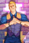 1boy blonde_hair blue_eyes brick_wall broken_handcuffs clenched_hands cody_travers cuffs facial_hair handcuffs highres necktie solo street_fighter street_fighter_v stubble upper_body waistcoat wallace_pires watch watch