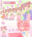 2koma 6+girls ? black_hair blush cellphone comic full-face_blush love_live! love_live!_school_idol_project multiple_girls multiple_persona nekokun nico_nico_nii nishikino_maki phone red_eyes redhead smartphone spoken_question_mark trembling violet_eyes yazawa_nico yuri