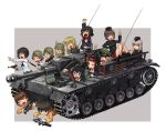 6+girls ankle_boots anzio_military_uniform bangs black_footwear black_hair black_hat black_jacket black_legwear black_neckwear blonde_hair blouse blue_eyes bolt_action boots bow bowtie brown_eyes brown_hair caesar_(girls_und_panzer) carpaccio_(girls_und_panzer) chin_rest closed_eyes coke-bottle_glasses dress_shirt emblem erwin_(girls_und_panzer) eyepatch freckles garrison_cap girls_und_panzer goggles goggles_on_headwear green_hat grey_background grey_hair ground_vehicle gun handgun hat helmet holding itsumi_erika jacket katahira_masashi kawashima_momo kuromorimine_military_uniform long_hair long_sleeves lying machine_gun mauser_98 messy_hair military military_hat military_uniform military_vehicle miniskirt momogaa_(girls_und_panzer) monocle motor_vehicle mp40 multiple_girls nakajima_(girls_und_panzer) neckerchief nekonyaa_(girls_und_panzer) ninja nishizumi_maho on_stomach one_eye_closed ooarai_(emblem) ooarai_military_uniform ooarai_school_uniform open_mouth oryou_(girls_und_panzer) outside_border peaked_cap pistol piyotan_(girls_und_panzer) pleated_skirt pointing pointing_up raised_fist red_headband red_shirt red_skirt rifle saemonza_(girls_und_panzer) saunders_school_uniform shirt short_hair silver_hair sitting skirt smile socks standing sturmgeschutz_iii submachine_gun tank thigh-highs translation_request tsuchiya_(girls_und_panzer) turretless_tank uniform v walther walther_p38 weapon weapon_request white_blouse x-ray