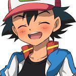 1boy black_hair black_shirt closed_eyes male_focus pokemon pokemon_(anime) satoshi_(pokemon) shirt simple_background smile solo upper_body whisker_markings white_background