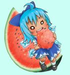 1girl ahoge bloomers blue_hair bow chamaji chibi cirno commentary dress eating eyebrows_visible_through_hair food frills fruit hair_between_eyes hair_bow highres ice ice_wings mary_janes puffy_short_sleeves puffy_sleeves round_teeth shoes short_hair short_sleeves simple_background socks solo teeth touhou underwear watermelon wet wings