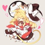 2girls animal_ears apron blonde_hair blush bow braid brown_hair cat_ears cat_tail chibi closed_eyes commentary frills hair_bow hair_tubes hakurei_reimu hat hat_bow heart hug kemonomimi_mode kirisame_marisa long_hair multiple_girls no_nose open_mouth petticoat piyokichi red_scarf scarf single_braid smile tail touhou white_bow witch_hat