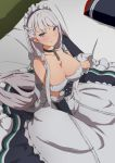 1girl apron arm_up azur_lane bangs bare_shoulders bed bed_sheet belfast_(azur_lane) black_gloves black_skirt braid breasts chains cleavage collar collarbone corset dress elbow_gloves french_braid frilled_apron frilled_dress frills gloves hand_in_hair highres large_breasts long_hair long_skirt looking_at_viewer maid_headdress on_bed pillow revision silver_hair sitting skirt solo sonri tsurime very_long_hair violet_eyes white_apron