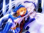2boys alexander_pastener apocripha/0 blonde_hair blue_eyes blue_footwear blue_gloves blue_hat boots brothers cape character_request family gloves hat long_hair multiple_boys pants platina_pastener purple_ribbon red_eyes ribbon shoes short_hair siblings striped striped_pants white_hair