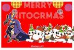 1girl animal_costume antlers beard bell bell_collar christmas christmas_tree collar dark_skin facial_hair fate/grand_order fate_(series) fur_trim hat jackal_ears long_hair medjed merry_christmas neko4327 nitocris_(fate/grand_order) purple_hair red_background red_nose reindeer_antlers reindeer_costume santa_costume santa_hat scepter twitter_username very_long_hair