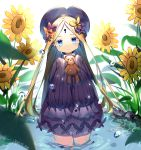 1girl abigail_williams_(fate/grand_order) absurdres artist_name bangs black_dress black_hat blonde_hair blue_eyes bow butterfly closed_mouth commentary_request dated dress fate/grand_order fate_(series) flower forehead hair_bow hands_in_sleeves hat highres holding holding_stuffed_animal ike_hikari keyhole leaning_to_the_side long_hair long_sleeves looking_at_viewer orange_bow parted_bangs polka_dot polka_dot_bow purple_bow solo stuffed_animal stuffed_toy sunflower teddy_bear very_long_hair wading water water_drop