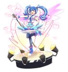 1girl akatsu_masato blue_angel blue_eyes blue_hair blue_neckwear boots detached_wings earrings full_body heart heart_earrings jewelry microphone one_eye_closed open_mouth outstretched_arms sleeveless smile solo stage stage_lights standing standing_on_one_leg thigh-highs twintails wings yu-gi-oh! yuu-gi-ou_vrains zaizen_aoi zettai_ryouiki