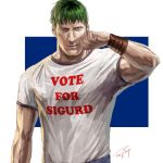 1boy alternate_costume arden_(fire_emblem) brown_eyes clenched_hand closed_mouth commentary_request dated fire_emblem fire_emblem:_seisen_no_keifu fire_emblem_heroes green_hair hand_up ippei_soeda looking_at_viewer male_focus multicolored multicolored_background muscle realistic serious shirt signature solo two-tone_background upper_body white_shirt wristband
