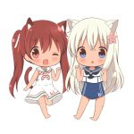 2girls :o ;d animal_ears bangs bare_arms barefoot blue_eyes blue_sailor_collar blue_swimsuit blush brown_eyes brown_hair cat_ears cat_girl cat_tail chibi chutney commentary_request crop_top dress eyebrows_visible_through_hair fang flower hair_between_eyes hair_flower hair_ornament hair_ribbon hands_up kantai_collection libeccio_(kantai_collection) long_hair looking_at_viewer multiple_girls one-piece_swimsuit one_eye_closed open_mouth parted_lips paw_pose pink_flower red_ribbon ribbon ro-500_(kantai_collection) sailor_collar sailor_dress school_swimsuit shirt sleeveless sleeveless_dress sleeveless_shirt smile standing standing_on_one_leg striped_neckwear swimsuit swimsuit_under_clothes tail tan twintails very_long_hair white_dress white_ribbon white_sailor_collar white_shirt