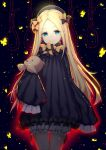 1girl abigail_williams_(fate/grand_order) absurdres bangs black_background black_bow black_dress black_hat blonde_hair bloomers blue_eyes bow butterfly closed_mouth commentary_request dress eyebrows_visible_through_hair fate/grand_order fate_(series) forehead glowing hair_bow hands_in_sleeves hat head_tilt highres jie_(530940004) long_hair long_sleeves looking_at_viewer noose object_hug orange_bow parted_bangs polka_dot polka_dot_bow smile solo stuffed_animal stuffed_toy teddy_bear underwear very_long_hair white_bloomers