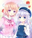 2girls :d bangs bitter_crown blue_eyes blue_hair blue_skirt blue_vest blush character_name chestnut_mouth collarbone commentary_request eyebrows_visible_through_hair gochuumon_wa_usagi_desu_ka? hair_between_eyes hair_ornament hairclip hand_up hoto_cocoa hoto_cocoa's_school_uniform kafuu_chino kafuu_chino's_school_uniform light_brown_hair long_sleeves looking_at_viewer multiple_girls open_mouth parted_lips pink_shirt pleated_skirt red_ribbon ribbon sailor_collar school_uniform serafuku shirt skirt smile vest violet_eyes white_sailor_collar white_shirt white_skirt x_hair_ornament