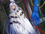 apocripha/0 blood blue_eyes blue_gloves blue_ribbon gloves long_hair platina_pastener ribbon white_hair
