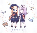 2girls abigail_williams_(fate/grand_order) bags_under_eyes bangs black_bow black_dress black_footwear black_hat blonde_hair bloomers blue_eyes book bow butterfly chibi closed_mouth commentary_request dress eye_contact fate/grand_order fate_(series) footprints hair_bow hand_holding hands_in_sleeves hat hidari_yuuko horn lavinia_whateley_(fate/grand_order) long_hair long_sleeves looking_at_another looking_at_viewer mary_janes multiple_girls object_hug orange_bow parted_bangs polka_dot polka_dot_background polka_dot_bow shoes smile standing star stuffed_animal stuffed_toy teddy_bear underwear very_long_hair violet_eyes whale white_background white_bloomers wide-eyed