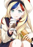 1girl :q absurdres black_skirt blonde_hair blue_eyes blue_hair blush closed_mouth commandant_teste_(kantai_collection) cup food hat highres holding holding_cup holding_food kantai_collection knees lips long_hair long_sleeves looking_at_viewer morinaga_miki multicolored multicolored_clothes multicolored_hair multicolored_scarf plaid plaid_scarf redhead sailor_collar sandwich scarf signature simple_background skirt solo squatting streaked_hair tareme tongue tongue_out upper_body very_long_hair white_background white_hair white_hat