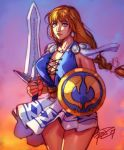 1girl blonde_hair blue_eyes braid breasts cleavage earrings highres holding holding_weapon jewelry large_breasts lips long_hair looking_at_viewer no_bra robert_porter shield sideboob signature single_braid skirt solo sophitia_alexandra soul_calibur soulcalibur_vi sword weapon white_skirt