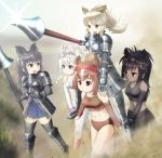 armor black_legwear black_rhinoceros_(kemono_friends) blue_dress brown_thoroughbred_(kemono_friends) chestnut_thoroughbred_(kemono_friends) dress eyebrows_visible_through_hair gloves highres kemono_friends kibasen lance long_hair multiple_girls polearm skygun sports_bikini sports_bra thigh-highs weapon white_legwear white_rhinoceros_(kemono_friends) white_thoroughbred_(kemono_friends)