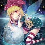 1girl :o alternate_legwear american_flag_dress american_flag_legwear arm_rest arm_support asymmetrical_clothes bangs blonde_hair blue_nails blush clownpiece commentary_request crescent_moon dress eyebrows_visible_through_hair fairy_wings fingernails full_moon hair_between_eyes hat head_tilt jester_cap kneeling leaning_forward long_hair looking_at_viewer minamura_haruki moon nail_polish neck_ruff no_shoes parted_lips polka_dot_hat red_eyes red_nails ripples short_dress solo star star_print striped thigh-highs touhou water wings zettai_ryouiki