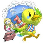 1girl clouds doubutsu_no_mori feathered_wings furry matryoshka_doll pichiku_(doubutsu_no_mori) simple_background sky solo suitcase water white_background wings