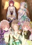 +_+ 5girls :d aqua_bow armlet atelier_(series) atelier_firis atelier_lydie_&_suelle atelier_sophie bare_shoulders black_legwear blush book bow braid breasts brown_eyes brown_hair chair cleavage closed_eyes closed_mouth collarbone corset dress elbow_gloves eyebrows_visible_through_hair firis_mistlud frilled_legwear from_above gloves green_eyes hair_between_eyes hair_ornament hairband head_scarf head_tilt headdress highres indoors lavender_hair lolita_hairband long_hair long_sleeves looking_at_another lydie_marlen medium_breasts multiple_girls numpopo open_mouth own_hands_together pink_eyes pink_hair plachta_(atelier) ponytail short_sleeves sidelocks sitting skirt smile sophie_neuenmuller sparkle standing suelle_marlen sunlight thigh-highs v_arms very_long_hair white_dress white_gloves wooden_floor yellow_bow