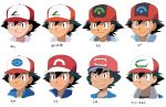 1boy artist_request baseball_cap black_eyes black_hair brown_eyes commentary_request comparison face hat highres pokemon pokemon_(anime) pokemon_(game) pokemon_bw pokemon_dppt_(anime) pokemon_rse pokemon_sm_(anime) pokemon_xy_(anime) satoshi_(pokemon) smile solo