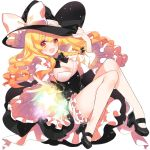 1girl bangs bare_legs black_footwear black_hat black_neckwear black_skirt blonde_hair bloomers bow bowtie breasts cleavage full_body hand_up hat hat_bow high_heels kirisame_marisa long_hair looking_at_viewer medium_breasts multicolored multicolored_eyes red_eyes roh_nam_kyung shoes skirt smile solo star swimsuit touhou underwear wavy_hair white_bow