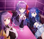 3girls apron bangs bb_(fate/extra_ccc) black_dress blue_eyes blue_hair blue_ribbon blunt_bangs blush breasts buckle cleavage closed_mouth collar couch crop_top dress eyebrows_visible_through_hair fate/extra fate/extra_ccc fate_(series) frilled_apron frilled_sleeves frills hair_ribbon hands_in_sleeves huge_breasts index_finger_raised indoors juliet_sleeves leaning_forward long_hair long_sleeves looking_at_viewer looking_back looking_to_the_side maid_headdress medium_breasts meltlilith multiple_girls neck_ribbon nonono on_couch passion_lip petals pink_eyes pink_ribbon puffy_sleeves purple_hair red_neckwear red_ribbon ribbon shiny shiny_hair smile smug table tareme upper_body v-shaped_eyebrows very_long_hair violet_eyes white_apron