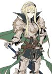 1girl armor bangs belt black_legwear blonde_hair breastplate brown_eyes cape closed_mouth copyright_request cowboy_shot frown gauntlets greaves green_cape hand_on_hilt hand_on_hip headpiece high_collar highres long_hair looking_at_viewer maruchi pauldrons plate_armor simple_background solo standing sword thigh-highs weapon white_background