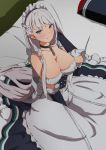 1girl apron arm_up azur_lane bangs bare_shoulders bed bed_sheet belfast_(azur_lane) black_gloves black_skirt braid breasts chains cleavage collar collarbone corset dress elbow_gloves french_braid frilled_apron frilled_dress frills gloves hand_in_hair highres large_breasts long_hair long_skirt looking_at_viewer maid_headdress on_bed pillow silver_hair sitting skirt solo sonri tsurime very_long_hair violet_eyes white_apron